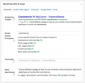 Ideas & Business – Tutorial, screenshot area SEO – Generale