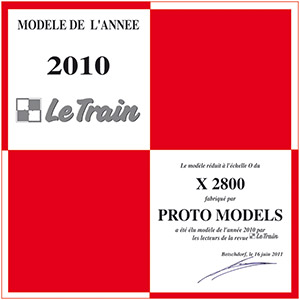 Certificate « Modèle de l'Année 2010 »